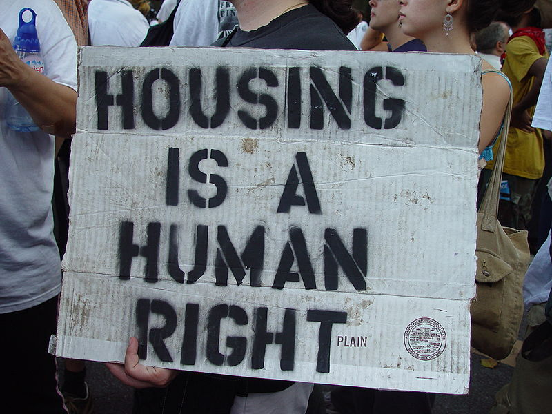 Housing Is a Human Right: Republican National Convention protest,  2004 (cc photo: Jonathan McIntosh)
