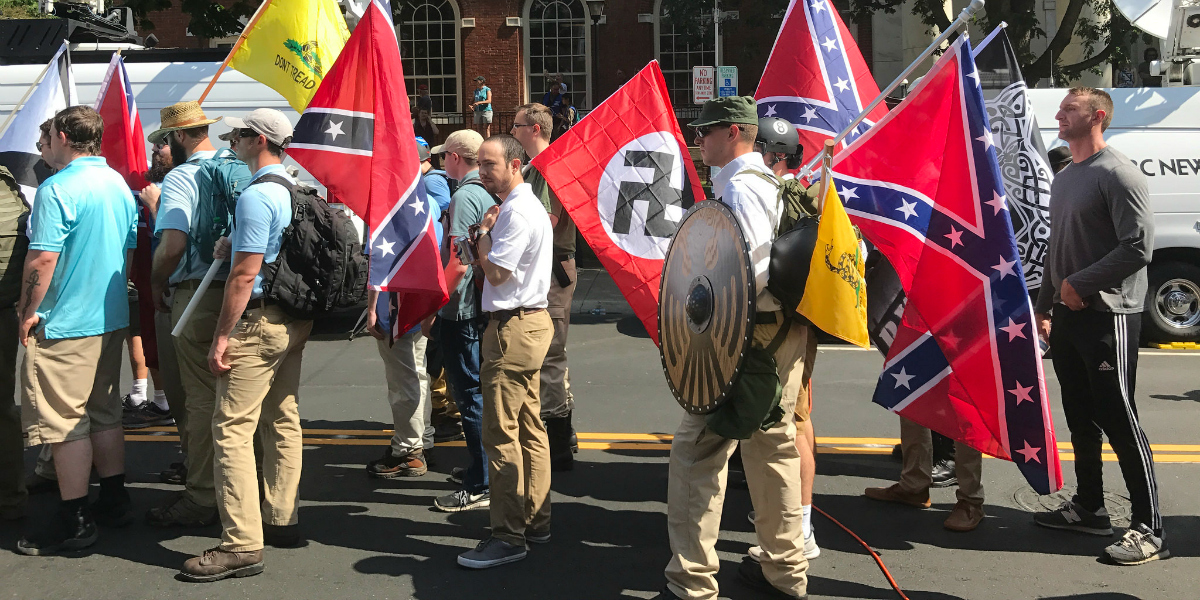 Fascists march in Charlottesville 'Unite the Right' rally (cc photo: Tony Crider)