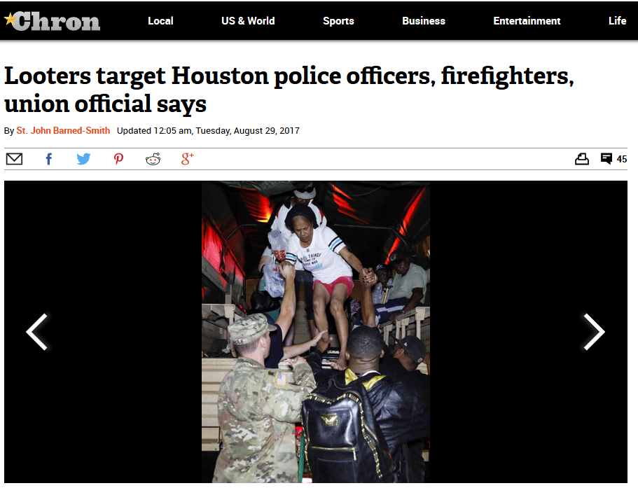 Houston Chronicle: Looters target Houston police officers, firefighters, union official says