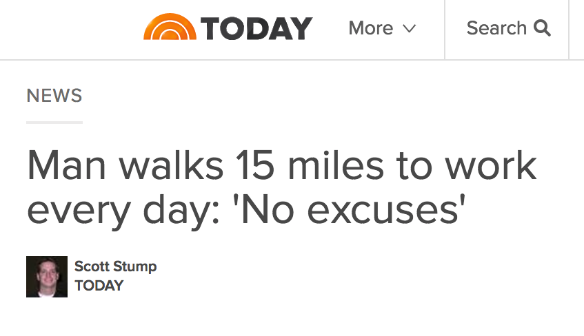 Today show: Man Walks 15 Miles to Work Every Day: 'No Excuses'