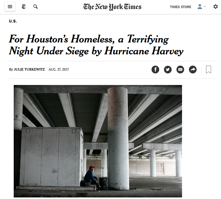 NYT: For Houston's Homeless, a Terrifying Night Under Siege by Hurricane Harvey