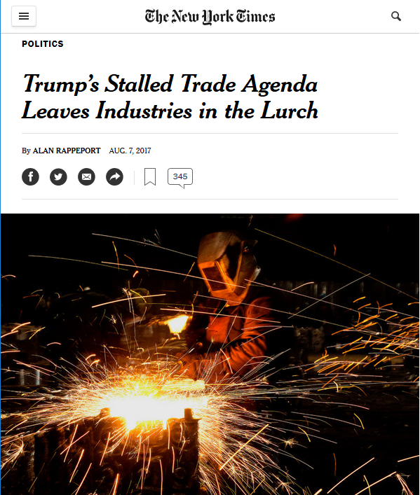 NYT: Trump's Stalled Trade Agenda Leaves Industries in the Lurch