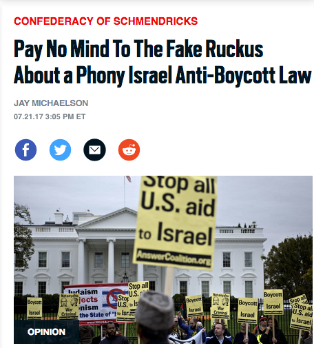 Daily Beast: Pay No Mind to the Fake Ruckus About a Phony Israel Anti-Boycott Law