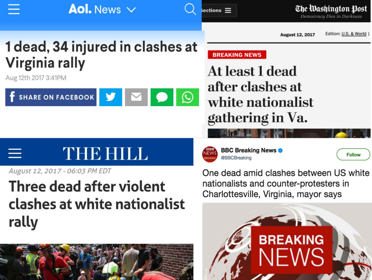 Headlines describing the running down of anti-fascist protesters as