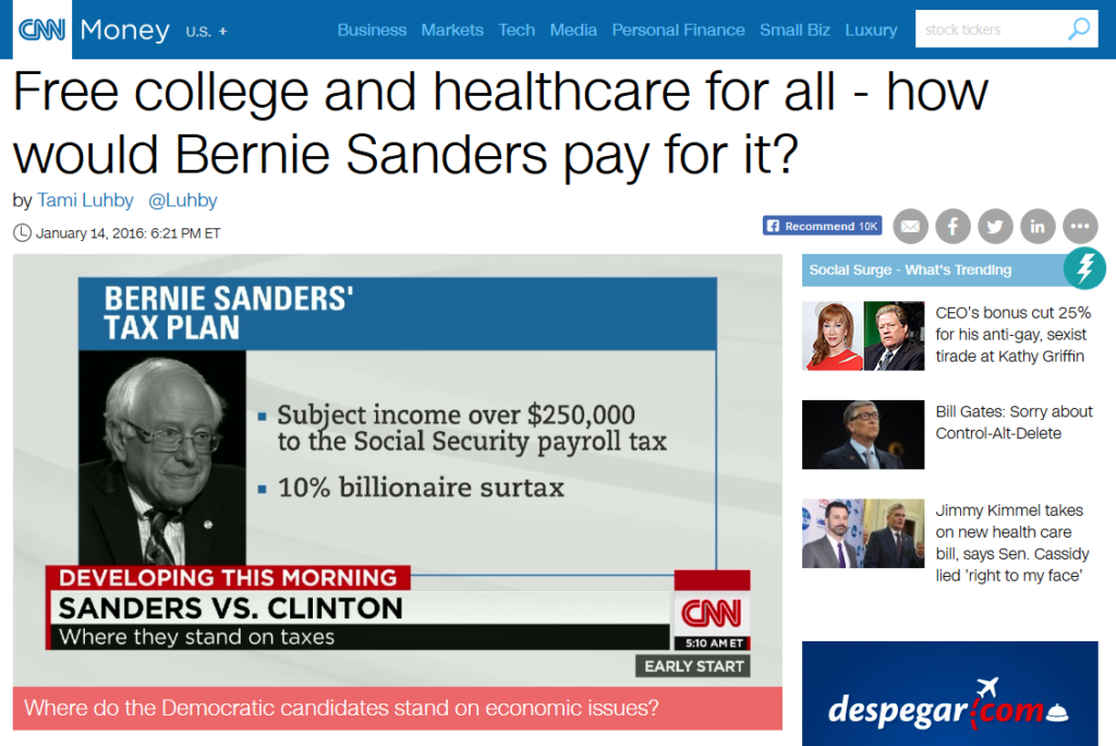 CNN: Free College and Healthcare for All: How Would Bernie Sanders Pay for It?