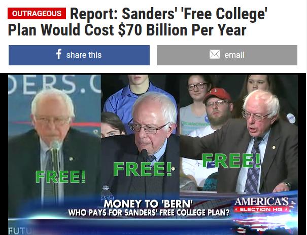 Fox News Insider: Report: Sanders' 'Free College' Plan Would Cost $70 Billion Per Year