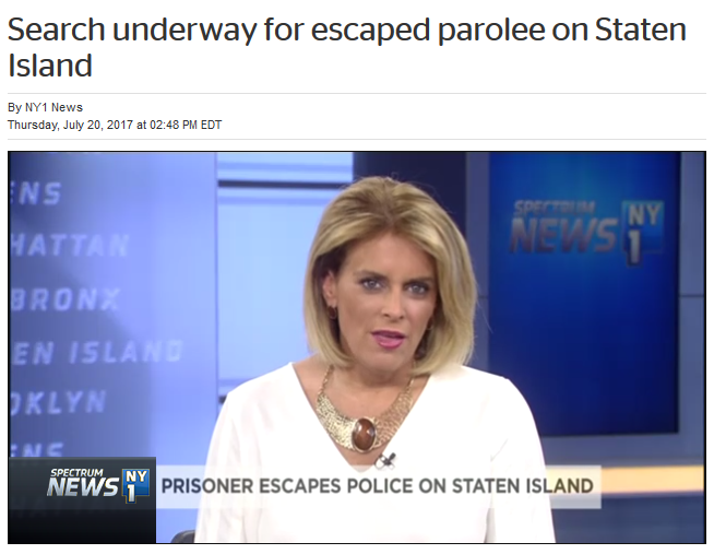 NY1: Search underway for escaped parolee on Staten Island