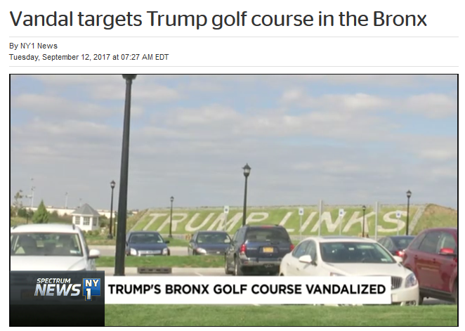 NY1: Vandals Target Trump Golf Course in the Bronx