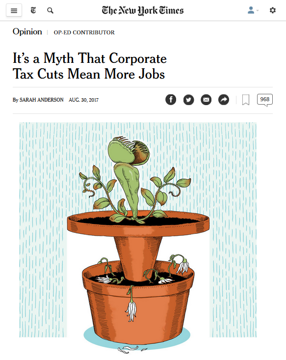 New York Times: It's a Myth That Corporate Tax Cuts Mean More Jobs