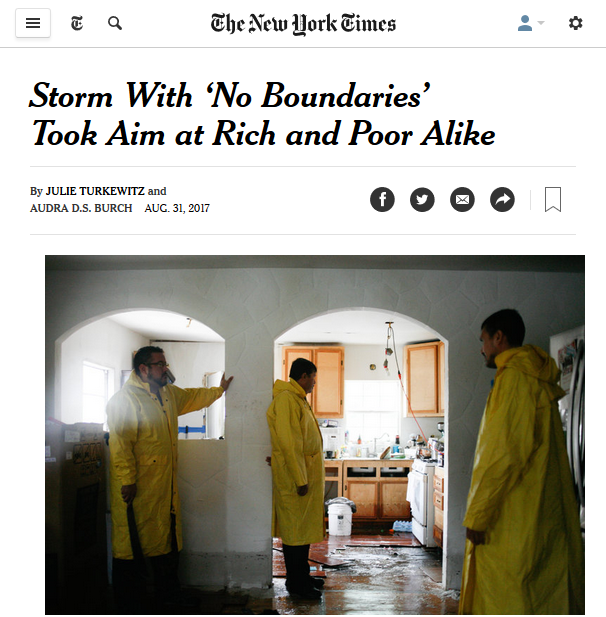 NYT: Storm With 'No Boundaries' Took Aim at Rich and Poor Alike