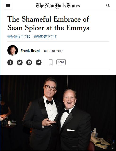 NYT: The Shameful Embrace of Sean Spicer at the Emmys