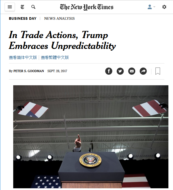 NYT: In Trade Actions, Trump Embraces Unpredictability