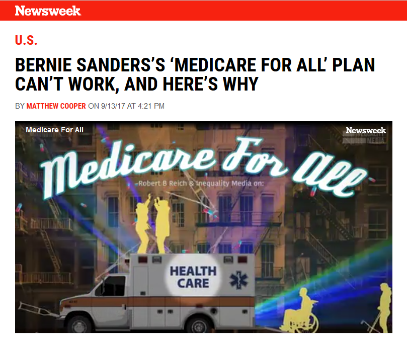 Newsweek: Bernie Sanders's 'Medicare for All' Plan Can't Work, and Here's Why