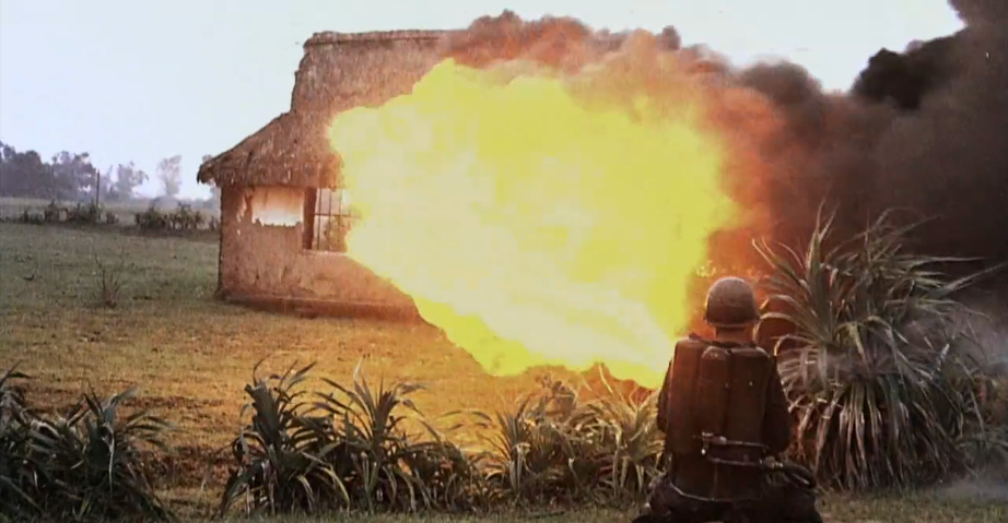 US military destroying a house in the Vietnam War.
