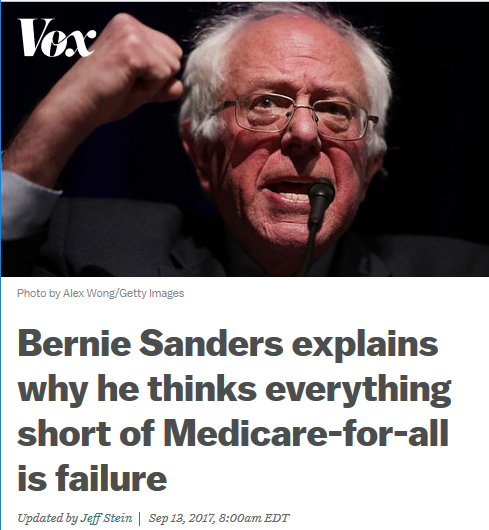 Vox: Bernie Sanders explains why he thinks everything short of Medicare-for-all is failure