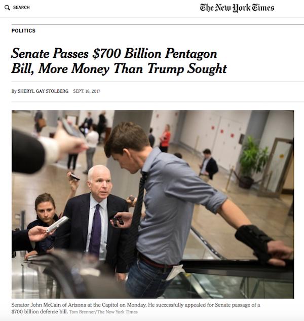 New York Times: Senate Passes $700 Billion Pentagon Bill, More Money Than Trump Sought
