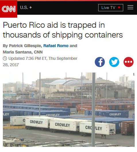 CNN: Puerto Rico Aid Trapped in Thousands of Shipping Containers