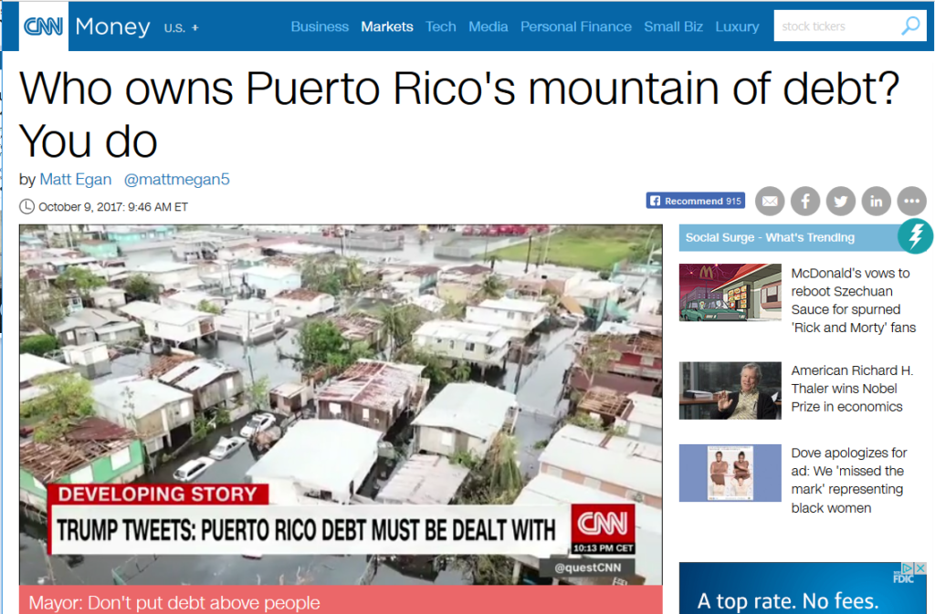 CNN: Who owns Puerto Rico's mountain of debt? You do