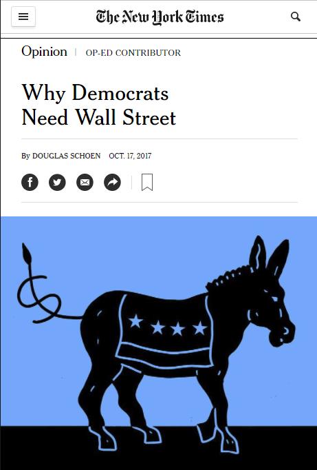 NYT: Why Democrats Need Wall Street