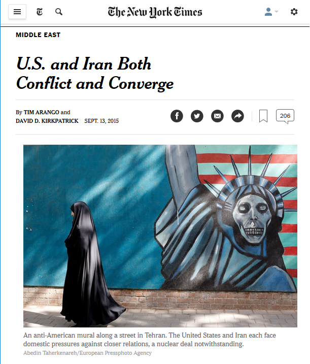 New York Times photo of woman in chador by anti-American mural