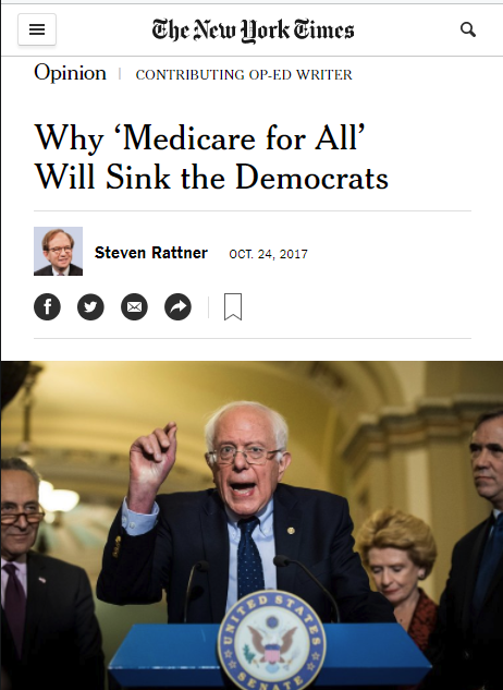 NYT: Why 'Medicare for All' Will Sink the Democrats