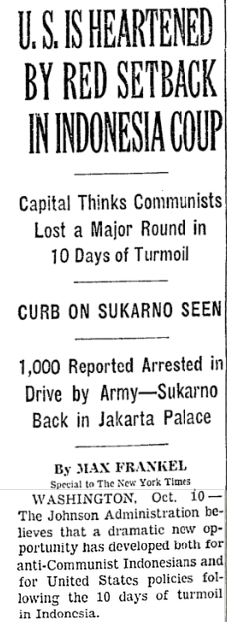 NYT: US Heartened by Red Setback in Indonesia Coup