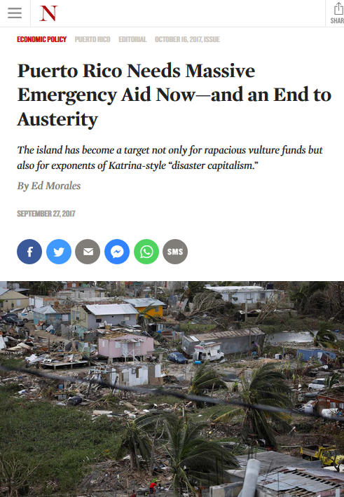 The Nation: Puerto Rico Needs Massive Emergency Aid Now—and an End to Austerity