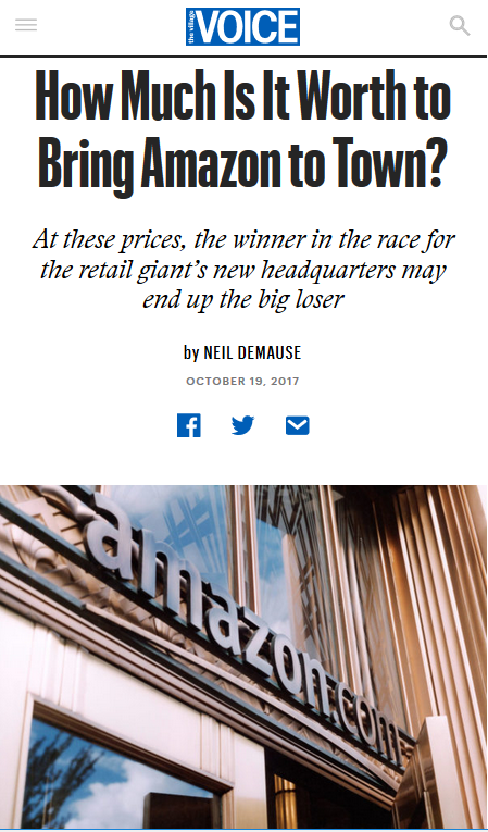 Village Voice: How Much Is It Worth to Bring Amazon to Town?