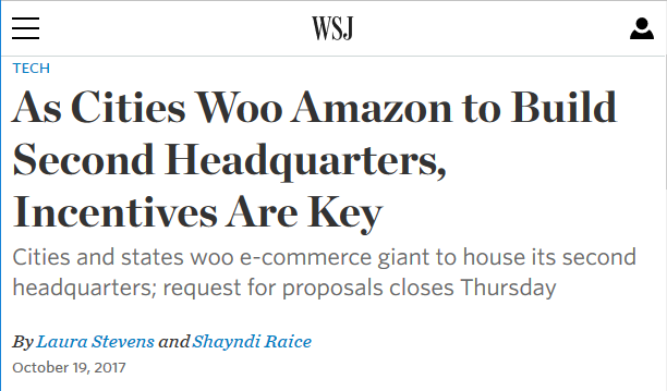 WSJ: As Cities Woo Amazon to Build Second Headquarters, Incentives Are Key