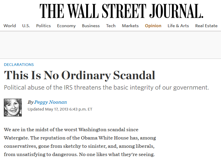 WSJ: This Is No Ordinary Scandal