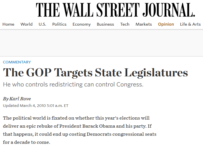 WSJ: The GOP Targets State Legislatures