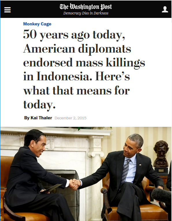 Washington Post: 50 years ago today, American diplomats endorsed mass killings in Indonesia