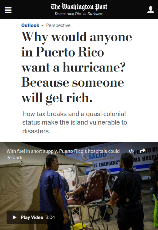 WaPo: Why Would Anyone in Puerto Rico Want a Hurricane?