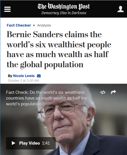 WaPo: Bernie Sanders claims the world's six wealthiest people have as much wealth as half the global population