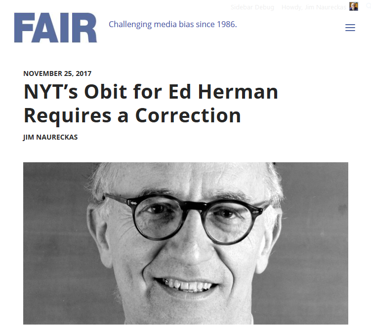 FAIR: NYT's Obit for Ed Herman Requires a Correction