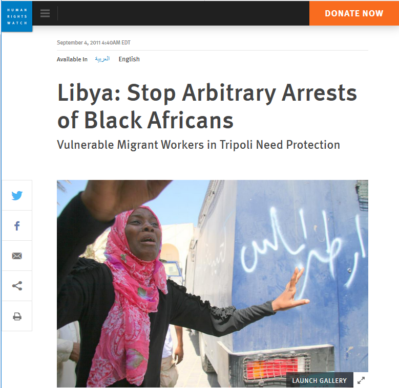 HRW: Libya: Stop Arbitrary Arrests of Black Africans
