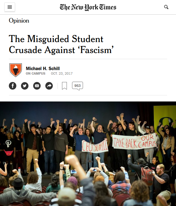 NYT: The Misguided Student Crusade Against 'Fascism'