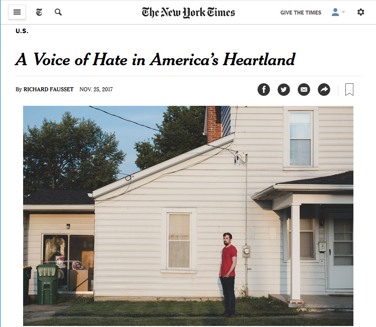 NYT: A Voice of Hate in America's Heartland