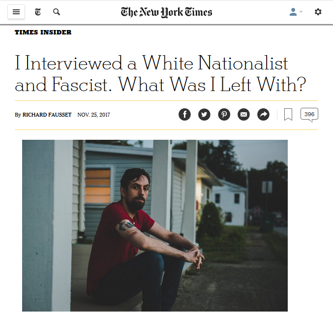 NYT: I Interviewed a White Nationalist and Fascist. What Was I Left With?