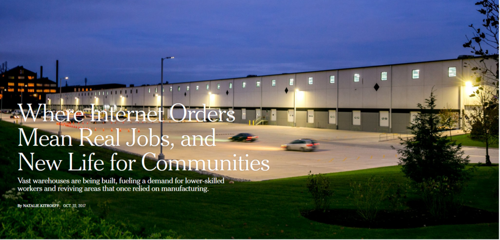 NYT: Where Internet Orders Mean Real Jobs, and New Life for Communities