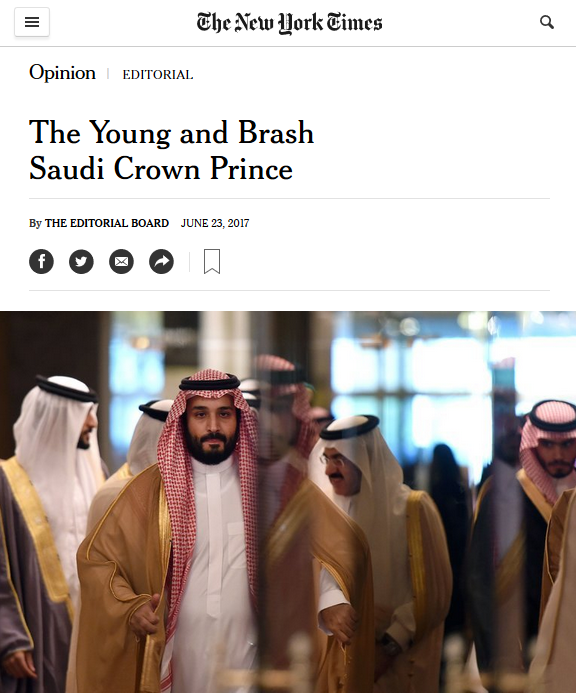 NYT: The Young and Brash Saudi Crown Prince