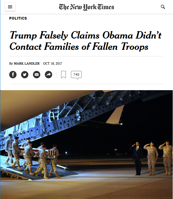 NYT: Trump Falsely Claims Obama Didn't Contact Families of Fallen Troops