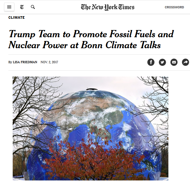 NYT: Trump Team to Promote Fossil Fuels and Nuclear Power at Bonn Climate Talks