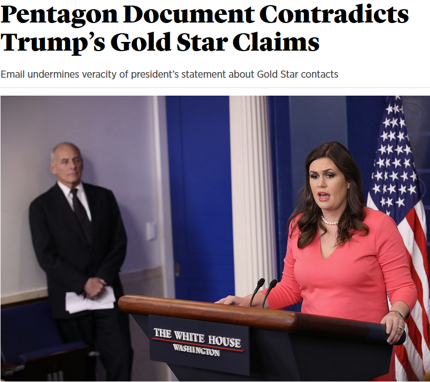Roll Call: Pentagon Document Contradicts Trump's Gold Star Claims