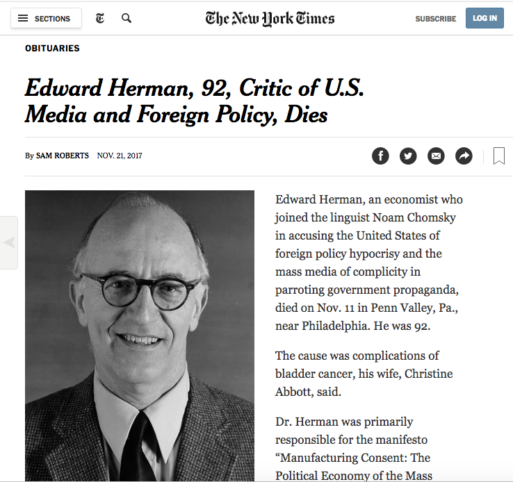NYT: Edward Herman, 92, Critic of U.S. Media and Foreign Policy, Dies