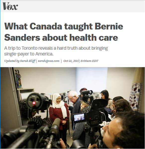 Vox: What Canada Taught Bernie Sanders About Healthcare