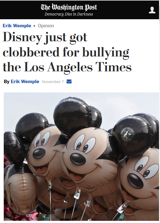 Washington Post: Disney Just Got Clobbered for Bullying the Los Angeles Times