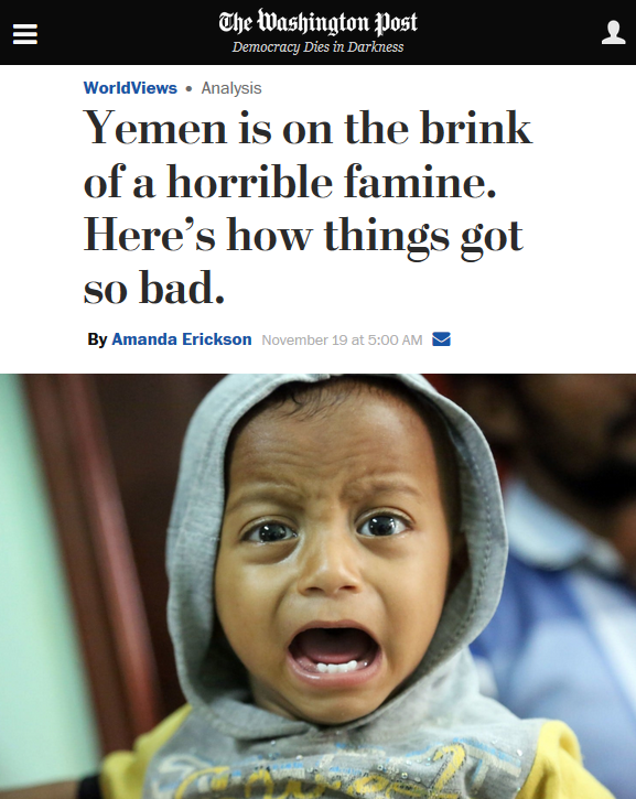 Washington Post: Yemen is on the brink of a horrible famine. Here's how things got so bad.