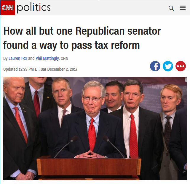 CNN: How All But One Republican Senator Found a Way to Pass Tax Reform