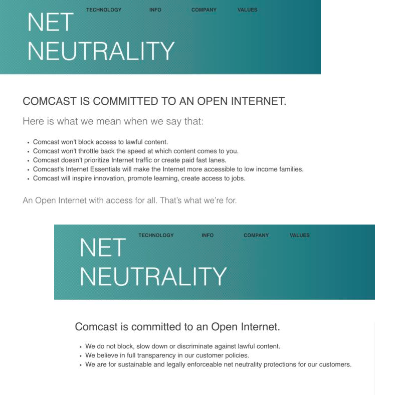 Comcast's net neutrality pledges (Ars Technica, 11/29/17)